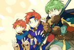 3boys armor blue_eyes cape closed_eyes eliwood_(fire_emblem) ephraim fire_emblem fire_emblem:_fuuin_no_tsurugi fire_emblem:_rekka_no_ken fire_emblem:_seima_no_kouseki gloves male_focus multiple_boys noki_(affabile) open_mouth redhead roy_(fire_emblem) short_hair smile sword weapon