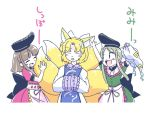 3girls animal_ears black_hat blonde_hair brown_hair closed_eyes commentary_request dress ear_grab fox_ears fox_tail green_dress green_hair hands_in_sleeves hat hat_removed headwear_removed itatatata long_sleeves multiple_girls nishida_satono ofuda open_mouth pillow pink_dress short_hair short_hair_with_long_locks sidelocks simple_background smile sweatdrop tabard tail tail_grab teireida_mai touhou translated white_background white_dress white_hat wide_sleeves yakumo_ran
