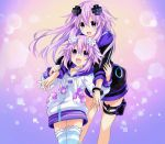 2girls adult_neptune bangs choujigen_game_neptune collarbone cowboy_shot d-pad dual_persona eyebrows_visible_through_hair gradient gradient_background hair_ornament highres hood hooded_track_jacket hug jacket long_hair looking_at_another multiple_girls neptune_(choujigen_game_neptune) neptune_(series) official_art open_mouth purple_hair shin_jigen_game_neptune_vii short_hair simple_background smile striped striped_legwear thigh-highs track_jacket tsunako violet_eyes zettai_ryouiki