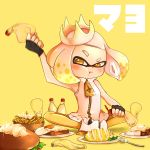 absurdres blush curry domino_mask egg fingerless_gloves food french_fries gloves hamburger highres hime_(splatoon) mask mayonnaise mole mole_under_mouth omelet pantyhose plate pout rice simple_background sitting sparkle splatoon splatoon_2 spoon suika_(blueberry998) tentacle_hair text toast translation_request white_hair yellow_background yellow_eyes