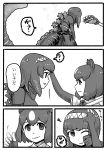 2girls :t ? bear_paw_hammer brown_bear_(kemono_friends) comic crossover eye_contact godzilla godzilla_(series) greyscale hairband hand_on_another's_head highres kemono_friends kishida_shiki looking_at_another monochrome multiple_girls one_eye_closed parted_lips personification petting pout shin_godzilla shirt short_hair short_sleeves smile spoken_question_mark standing tail translation_request turtleneck weapon