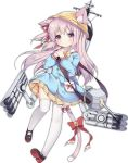 animal_ears bell bilan_hangxian cat_ears cat_tail hands_clasped hat kindergarten_uniform kisaragi_(bilan_hangxian) long_hair looking_at_viewer pink_hair school_hat solo tail tail_bell thigh-highs tsukimi_(xiaohuasan)