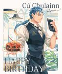1boy apron blue_hair bracelet cake chair character_name closed_mouth cowboy_shot earrings fate/stay_night fate_(series) food fruit gae_bolg hair_strand happy_birthday indoors jewelry lamp lancer leaf lemon long_hair looking_at_viewer male_focus ponytail red_eyes shirt signature smile solo standing strawberry table vest vuls406 waiter white_shirt