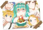 2girls 3boys birthday_cake blonde_hair blue_eyes blue_hair blue_nails blush brown_hair cake character_request closed_eyes closed_mouth eyebrows_visible_through_hair facing_viewer food furururu happy_birthday hatsune_miku kagamine_len kagamine_rin long_hair looking_at_viewer multiple_boys multiple_girls nail_polish one_eye_closed open_mouth parted_lips short_hair smile teeth twintails v vocaloid