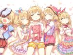 5girls bangs blush bow bowtie braid breasts choker closed_eyes closed_mouth collarbone commentary_request cowboy_shot dress ezusa facing_viewer frilled_choker frills from_above futaba_anzu hair_between_eyes hair_bobbles hair_bow hair_ornament hair_tie hairband hand_on_own_chest hat holding holding_stuffed_animal idolmaster idolmaster_cinderella_girls layered_dress long_hair lying multicolored multicolored_clothes multicolored_dress multiple_girls multiple_persona off_shoulder on_back on_side open_mouth overalls oversized_clothes petals pink_hairband pocket polka_dot polka_dot_bow polka_dot_bowtie puffy_short_sleeves puffy_sleeves red_shorts shadow shirt short_shorts short_sleeves shorts sleeping sleeveless sleeveless_dress small_breasts striped striped_legwear striped_shorts stuffed_animal stuffed_bunny stuffed_toy t-shirt very_long_hair white_background white_choker white_dress white_hat yellow_bow