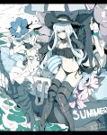3girls aircraft_carrier_hime aircraft_carrier_summer_hime battleship_hime battleship_summer_hime bikini black_bikini black_border black_hair black_hat blue_eyes border gauntlets hair_over_one_eye hat horns kantai_collection long_hair multiple_girls ninimo_nimo red_eyes seaport_summer_hime shinkaisei-kan side-tie_bikini smile swimsuit white_hair white_hat