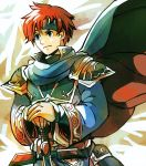 1boy armor blue_eyes cape cosplay durandal_(fire_emblem) eliwood_(fire_emblem) eliwood_(fire_emblem)_(cosplay) fire_emblem fire_emblem:_fuuin_no_tsurugi fire_emblem:_rekka_no_ken fire_emblem_heroes headband highres holding holding_weapon male_focus redhead roy_(fire_emblem) short_hair solo sword weapon