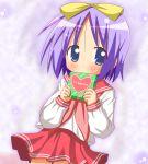 1girl hair_ribbon hair_ribbons hiiragi_tsukasa lucky_star minami_(colorful_palette) purple_hair ribbon ribbons school_uniform serafuku short_hair solo valentine
