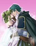 1girl aozora_kyuuji blush bun couple double_bun dress elbow_gloves ephraim fire_emblem fire_emblem:_seima_no_kouseki fire_emblem_sacred_stones gloves green_eyes green_hair hug kiss l'arachel