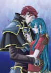 armor blue_hair blush closed_eyes couple eirika embrace fire_emblem fire_emblem:_seima_no_kouseki fire_emblem:_the_sacred_stones gloves long_hair redhead romantic seth seth_(fire_emblem) short_hair skirt