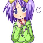 1girl blue_eyes casual hiiragi_tsukasa hoodie lucky_star minami_(colorful_palette) purple_hair short_hair solo