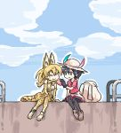 2girls :> :t ^_^ animal_ears backpack backpack_removed bag black_eyes black_gloves black_hair black_legwear blonde_hair blue_sky blush_stickers closed_eyes clouds day eating feeding food gloves hat hat_feather high-waist_skirt japari_bun kaban_(kemono_friends) kemono_friends multiple_girls outdoors outline pantyhose_under_shorts print_gloves print_legwear print_skirt railing red_shirt seki_(red_shine) serval_(kemono_friends) serval_ears serval_print serval_tail shirt short_hair shorts sitting skirt sky smile tail