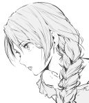 1girl bangs braid close-up commentary enami_katsumi face from_side greyscale hair_over_shoulder highres lips long_hair looking_afar monochrome parted_lips profile simple_background single_braid sketch solo white_background