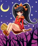 1girl ashley_(warioware) bangs big_hair black_hair blush broom broom_riding closed_mouth collarbone crescent_moon dress flat_chest full_body gradient gradient_background hairband halloween highres long_hair long_sleeves moon neckerchief no_legwear orange_hairband orange_neckerchief outline red_dress red_eyes red_shoes shoes sidesaddle sigurd_hosenfeld skull solo star tree two-tone_background upskirt very_long_hair warioware white_outline