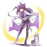 1girl alternate_costume black_hair blake_belladonna bow gambol_shroud hair_bow highres iesupa rwby solo welsh_corgi yellow_eyes zwei_(rwby)