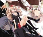 3girls :d absurdres arm_support black_boots black_bra black_gloves black_jacket black_ribbon blue_eyes boots bow bra breasts brown_eyes brown_jacket bullet bunny_hair_ornament chains cleavage danganronpa dress_shirt enoshima_junko eyebrows_visible_through_hair formal gloves hair_bow hair_ornament hair_ribbon haru_(haru2079) high_heel_boots high_heels highres jacket kirigiri_kyouko knee_boots light_brown_hair long_hair looking_at_viewer medium_breasts miniskirt multiple_girls nail_polish nanami_chiaki neck_ribbon necktie open_mouth parted_lips pleated_skirt red_nails red_ribbon red_skirt ribbon shirt short_hair silver_hair sitting skirt smile twintails underwear very_long_hair violet_eyes white_necktie white_shirt