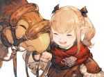 1girl :d ^_^ black_ribbon blonde_hair blush bridle closed_eyes final_fantasy final_fantasy_xiv hair_ribbon holding junwool lalafell open_mouth pointy_ears red_scarf ribbon scarf simple_background sketch smile twintails upper_body white_background