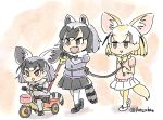 3girls :d animal_ears black_bow black_bowtie black_hair black_skirt blonde_hair bow bowtie common_raccoon_(kemono_friends) fang fennec_(kemono_friends) fox_ears fox_tail fur_collar grey_hair grey_sweater if_they_mated kemono_friends miniskirt multicolored_hair multiple_girls open_mouth pantyhose panzuban pink_sweater pleated_skirt raccoon_ears raccoon_tail rope short_hair skirt smile sweater tail tricycle twitter_username white_legwear white_skirt yellow_bow yellow_bowtie yellow_legwear