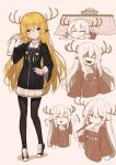 1girl :3 =_= animal_ears antlers arm_up bangs black_legwear black_shoes blonde_hair blush_stickers bowl eating evil_smile expressions eyebrows_visible_through_hair food full_body hair_between_eyes hand_up highres hitoshi holding holding_food kotatsu long_hair long_sleeves looking_at_viewer multiple_views open_mouth original pantyhose pointy_ears popsicle shaded_face shoes sidelocks smile solo tabard table yellow_eyes