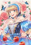 1girl apple artist_name bare_shoulders blonde_hair blue_butterfly blue_dress blue_eyes blue_ribbon breasts butterfly curtsey dress flower food fruit grin hair_ribbon jewelry leaf looking_at_viewer maid_headdress medium_breasts necklace open_mouth pearl_necklace peyo_han puffy_short_sleeves puffy_sleeves red_rose ribbon rose short_hair short_sleeves smile solo white_rose