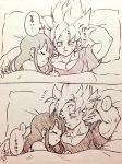... 1boy 1girl bed bed_sheet black_hair chi-chi_(dragon_ball) couple dragon_ball dragonball_z expressionless long_hair looking_at_another monochrome panels pillow short_hair simple_background sleeping sleepy son_gokuu speech_bubble spiky_hair super_saiyan sweatdrop thought_bubble tkgsize translation_request