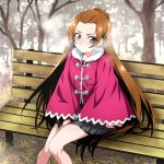 1girl arm_support belt black_skirt blush breath brown_hair coat commentary_request day dokidoki!_precure embarrassed have_to_pee long_hair madoka_aguri miniskirt nakahira_guy outdoors pleated_skirt precure red_coat red_eyes sitting skirt solo sweat tree very_long_hair