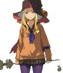 1girl arm_garter bangs black_skirt blonde_hair blue_eyes blue_neckerchief cape closed_mouth cowboy_shot enami_katsumi hat highres holding holding_staff long_hair long_sleeves looking_at_viewer neckerchief orange_sweater pantyhose parted_bangs pleated_skirt pumpkin purple_legwear red_cape simple_background skirt solo staff standing star sweater white_background witch_hat
