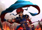 1boy armor bandage blue_eyes cape fire fire_emblem fire_emblem:_fuuin_no_tsurugi headband injury kero_sweet redhead roy_(fire_emblem) solo