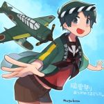 1girl aircraft airplane artist_name bangs belt black_eyes black_neckerchief blue_background brown_serafuku brown_shorts e16a_zuiun green_hair happi japanese_clothes kantai_collection looking_at_viewer mogami_(kantai_collection) mogamiya_honu neckerchief open_mouth outstretched_arms school_uniform serafuku short_hair shorts solo spread_arms swept_bangs translation_request