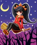1girl ashley_(warioware) bangs big_hair black_hair black_legwear blush broom broom_riding closed_mouth collarbone crescent_moon dress flat_chest full_body gradient gradient_background hairband halloween highres long_hair long_sleeves moon neckerchief orange_hairband orange_neckerchief outline pantyhose red_dress red_eyes red_shoes shoes sidesaddle sigurd_hosenfeld skull solo star tree two-tone_background upskirt very_long_hair warioware white_outline