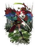 1girl bamboo bamboo_forest benienma_(fate) fate/grand_order fate_(series) feather_trim forest hat highres katana kurokw nature red_eyes redhead sword twitter_username weapon