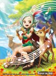 1girl bare_shoulders bird cape clouds copyright_name day deer earrings feathers flower force_of_will grass green_hair hairband jewelry leaf musical_note official_art open_mouth orange_eyes rabbit sakuma_sanosuke sandals sitting sky solo sparkle squirrel teeth tree