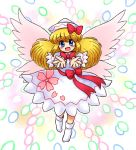 1girl :d bangs blonde_hair blush bobby_socks bow cherry_blossom_print commentary_request danmaku dress eyebrows_visible_through_hair fairy_wings flying hair_bow hat hidden_star_in_four_seasons lily_white long_hair long_sleeves looking_at_viewer multicolored multicolored_background nitamago no_shoes open_mouth outstretched_arms red_bow sash sidelocks smile socks solo touhou white_dress white_hat white_legwear wings