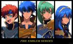 2boys 2girls armor blue_eyes blue_hair cape cosplay eliwood_(fire_emblem) eliwood_(fire_emblem)_(cosplay) fire_emblem fire_emblem:_fuuin_no_tsurugi fire_emblem:_kakusei fire_emblem:_rekka_no_ken fire_emblem:_souen_no_kiseki fire_emblem_heroes green_eyes green_hair greil greil_(cosplay) headband high_ponytail highres ike kuruto. long_hair lucina lyndis_(fire_emblem) multiple_boys multiple_girls ponytail redhead roy_(fire_emblem) short_hair smile tiara