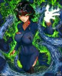 1girl absurdres angry arm_at_side black_bra black_hair black_legwear blood blood_on_face bloody_clothes blue_dress bra bra_peek breasts closed_mouth collarbone collared_dress commentary_request covered_navel cowboy_shot dated dress energy fubuki_(one-punch_man) glowing glowing_eyes green_eyes hand_up highres impossible_clothes impossible_dress initial kneehighs large_breasts long_sleeves looking_up motion_blur one-punch_man psychic revision rubble short_hair side_slit solo the_golden_smurf torn_clothes torn_dress underwear veins