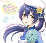 1girl alternate_hairstyle bangs birthday blue_hair blush commentary_request food hair_between_eyes hat hirako ice_cream long_hair looking_at_viewer love_live! love_live!_school_idol_festival love_live!_school_idol_project necktie open_mouth ponytail solo sonoda_umi upper_body yellow_eyes