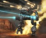 2015 album_cover anthony_scroggins_(shimmering_sword) arm_cannon battle battletech cannon commentary condensation_trail cover dated desert dust energy_cannon explosion fire firing laser laser_beam madcat mecha mechwarrior missile realistic rocket_launcher science_fiction signature smoke walker walking weapon