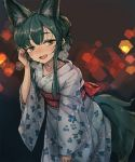 1girl animal_ears bangs blue_hair blue_kimono blush breath brown_eyes eyebrows_visible_through_hair fang floral_print fox_ears fox_tail hair_tucking half-closed_eyes hand_up hexagon japanese_clothes kimono leaning_forward lens_flare looking_at_viewer noconol nose_blush open_mouth original short_hair_with_long_locks sidelocks smile solo tail tied_hair wide_sleeves