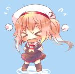 >_< 1girl beret black_serafuku black_skirt blue_background chibi closed_eyes fingerless_gloves full_body gloves harusame_(kantai_collection) hat kantai_collection kouu_hiyoyo lowres neckerchief open_mouth pink_hair red_neckerchief school_uniform serafuku side_ponytail simple_background skirt solo standing wavy_mouth white_hat white_sailor_collar
