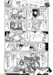 4girls comic commentary etorofu_(kantai_collection) fubuki_(kantai_collection) greyscale hat kantai_collection kunashiri_(kantai_collection) low_ponytail mizumoto_tadashi monochrome multiple_girls non-human_admiral_(kantai_collection) sailor_hat school_uniform serafuku shimushu_(kantai_collection) short_hair sidelocks star star-shaped_pupils symbol-shaped_pupils translation_request