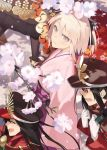 1boy 3girls ahoge architecture arm_support black_bow black_hair bow cape cherry_blossoms demon_archer east_asian_architecture fate/grand_order fate_(series) hair_bow hayashi_kewi japanese_clothes kimono koha-ace light_smile lips looking_at_another looking_at_viewer multiple_girls oda_nobukatsu_(fate/grand_order) open_mouth pink_eyes pink_hair pink_kimono ponytail sakura_saber shinsengumi short_hair short_kimono sidelocks sitting sleeves_past_wrists straight_hair toeless_legwear wide_sleeves