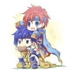 2boys armor axe blue_eyes blue_hair cape chibi cosplay durandal_(fire_emblem) eliwood_(fire_emblem) eliwood_(fire_emblem)_(cosplay) fire_emblem fire_emblem:_fuuin_no_tsurugi fire_emblem:_rekka_no_ken fire_emblem:_souen_no_kiseki fire_emblem_heroes gloves greil greil_(cosplay) headband highres holding holding_weapon ike male_focus multiple_boys redhead roy_(fire_emblem) shirayuki_shion short_hair smile sword weapon