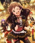 3girls artist_request beamed_quavers blue_eyes bracelet brown_eyes brown_hair earrings english fingerless_gloves gloves guitar guitar_case idolmaster idolmaster_million_live! instrument instrument_case jewelry julia_(idolmaster) kitazawa_shiho mochizuki_anna multiple_girls musical_note official_art one_eye_closed pantyhose redhead short_hair
