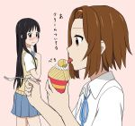 2girls akiyama_mio blush brown_hair food fork hairband hime_cut k-on! licking mont_blanc_(food) multiple_girls pink_background pleated_skirt profile short_hair simple_background skirt tainaka_ritsu tongue tongue_out tsukkun wavy_mouth