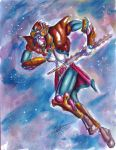 2006 armor aztec dated eagle_knight facepaint fantasy helmet jaguar-x karmatron karmatron_y_los_transformables mecha mexican parody redesign scan science_fiction signature star starry_background style_parody super_robot traditional_media tribal watercolor_(medium)