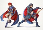 2boys armor blue_eyes blue_hair cape cosplay eliwood_(fire_emblem) falchion_(fire_emblem) fire_emblem fire_emblem:_fuuin_no_tsurugi fire_emblem:_kakusei fire_emblem:_rekka_no_ken full_body gloves krom long_hair lucina lucina_(cosplay) multiple_boys redhead roy_(fire_emblem) roy_(fire_emblem)_(cosplay) short_hair sword tiara weapon white_background