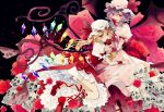 2girls absurdres ascot bat_wings black_background blonde_hair bloomers fang flandre_scarlet frilled_skirt frills hair_between_eyes hat hat_ribbon highres looking_at_viewer mob_cap multiple_girls nail_polish puffy_short_sleeves puffy_sleeves purple_hair red_eyes red_nails red_ribbon red_shoes red_skirt remilia_scarlet ribbon satsuki_(miicat) shoes short_sleeves siblings sisters skirt skirt_set skull smile touhou underwear vest white_hat wings wrist_cuffs