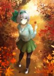1girl alternate_costume autumn autumn_leaves black_legwear blue_eyes breasts contemporary contrapposto cross-laced_footwear dappled_sunlight day foreshortening forest from_above full_body green_ribbon green_skirt hair_ribbon holding holding_leaf jacket konpaku_youmu kz_nagomiya leaf long_sleeves looking_to_the_side maple_leaf nature outdoors pantyhose ribbon shadow shirt shoes short_hair silver_hair skirt small_breasts smile sneakers solo standing sunlight sweater_jacket touhou white_shirt