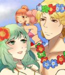 1boy 3girls beach bikini blonde_hair camus celica_(fire_emblem) closed_eyes fire_emblem fire_emblem_echoes:_mou_hitori_no_eiyuuou fire_emblem_gaiden flower green_hair hair_flower hair_ornament highres kyou_(ningiou) mae_(fire_emblem) multiple_girls one_eye_closed outdoors pink_hair redhead smile swimsuit teeta_(fire_emblem)