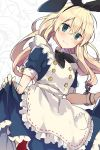1girl absurdres alice_(wonderland) alice_(wonderland)_(cosplay) alice_in_wonderland apron black_neckerchief blonde_hair blue_dress blush bow bunny_hair_ornament buttons cosplay dress dutch_angle eyebrows_visible_through_hair frilled_apron frills green_eyes hair_between_eyes hair_ornament hairband headband highres ikeuchi_tanuma kantai_collection light_smile long_hair looking_at_viewer neckerchief pantyhose pocket red_legwear ribbon ribbon_trim shimakaze_(kantai_collection) skirt_hold smile solo standing thigh-highs wrist_cuffs